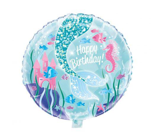Zeemeermin folie ballon Happy Birthday