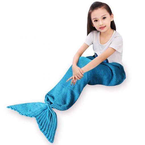 Zeemeermin staart kind deken blauw