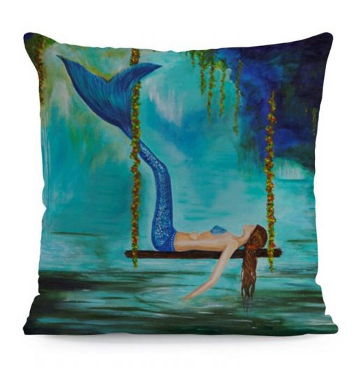 Zeemeermin kussen hoes Relax, mermaid op schommel